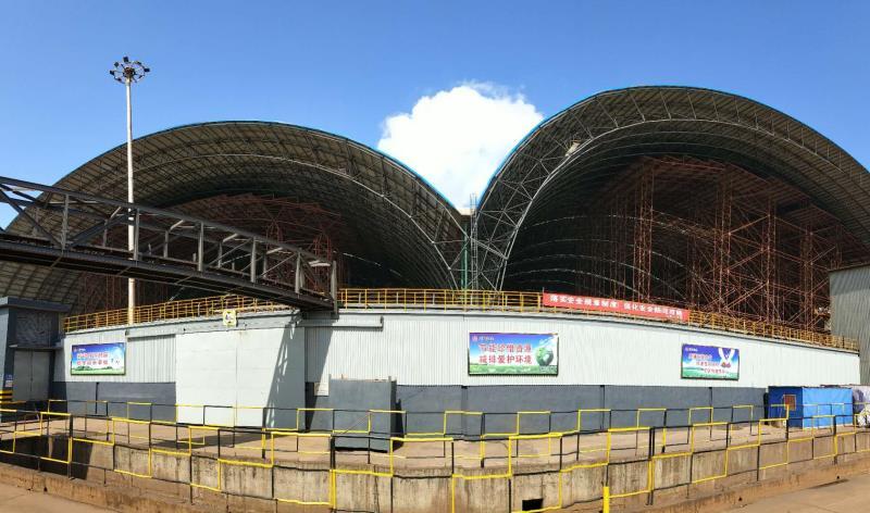 新建钢结构封闭式原料场大棚